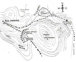'A map of the area in which Mark escaped death, and the route he took.